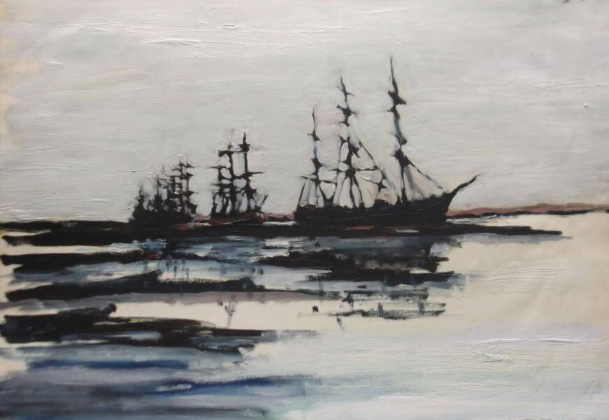 Finalist in 2015 ANL Maritime Art Prize, Sailing Vessels Moored in Newcastle late 1800's painted by Philip David