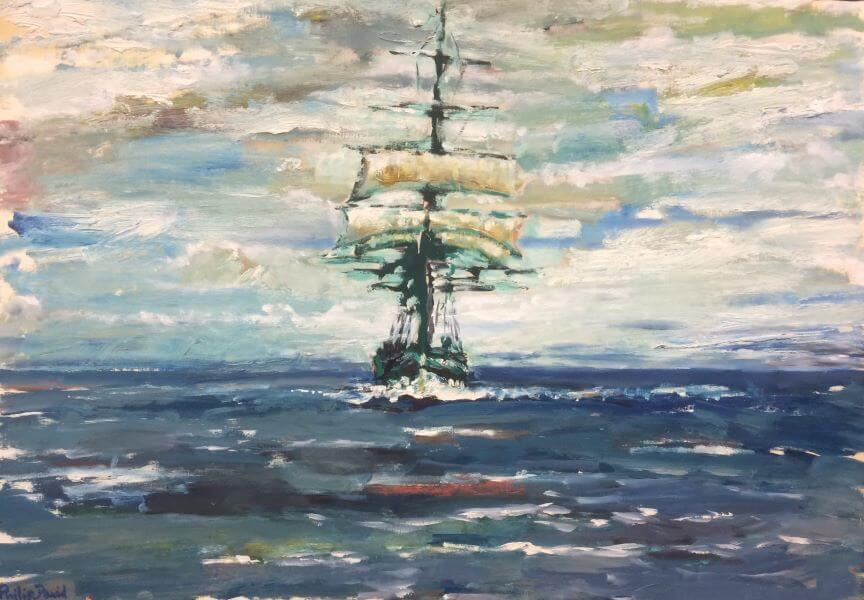 Finalist in 2016 ANL Maritime Art Prize, 1900's Coastal Trader Passes Phillip Island painted by Philip David