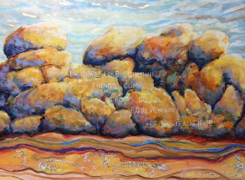 Finalist in 2016 Pt Pirie Art Prize, Devils Marbles - Opal Rocks, Oil and Gold Leaf on Canvas painted by Philip David