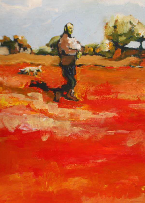 A Farmer, A Lamb, A Dog, A Hot Day painted Philip David
