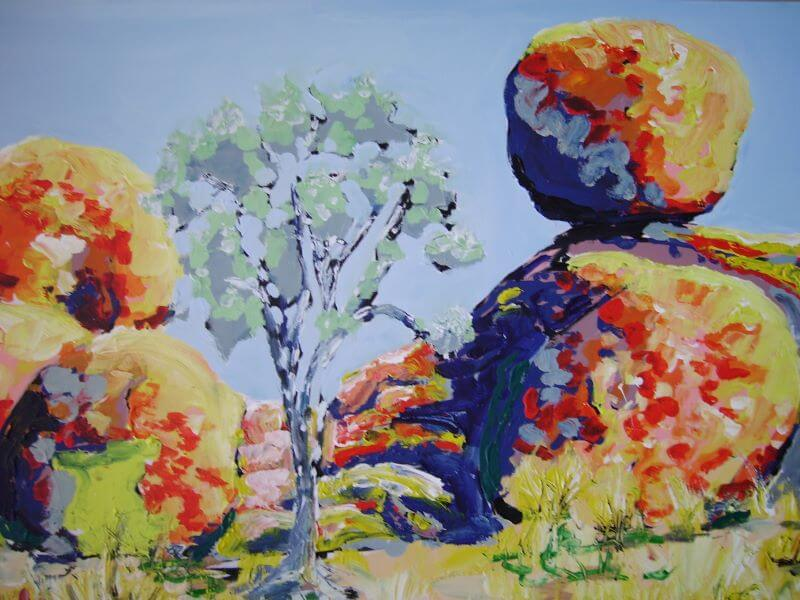 Devils Marbles painted by Philip David