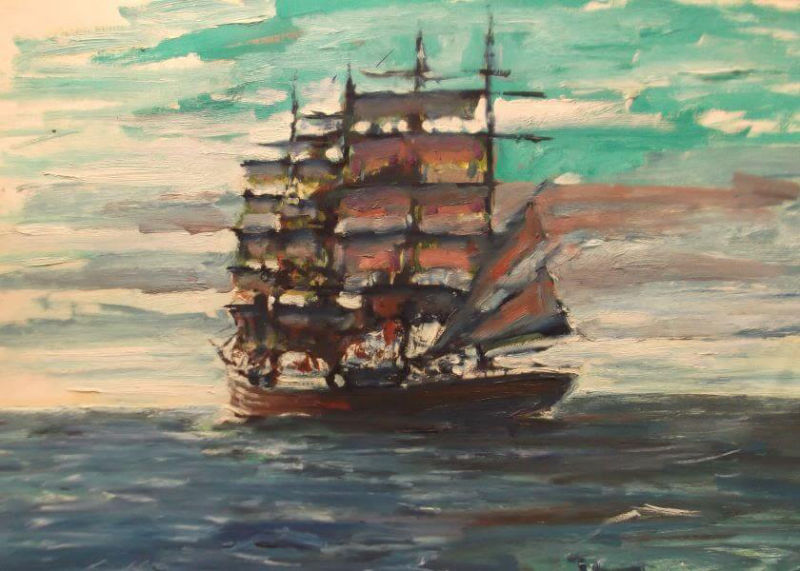 Sailing ship painted in 1990 (1) by Philip David