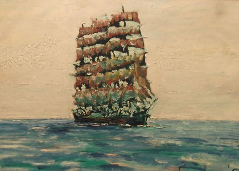 Sailing ship painted in 1990 (2) by Philip David